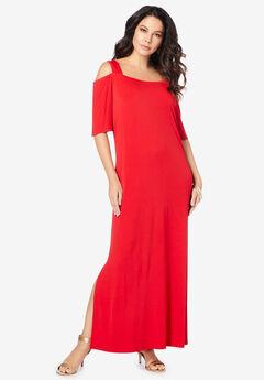 Ultrasmooth® Cold-Shoulder Maxi Dress, VIVID RED