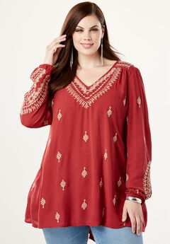 Embroidered Tunic With Trapeze Silhouette, , hi-res