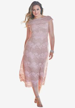 Off-The-Shoulder Lace Dress, BLUSH LACE, hi-res
