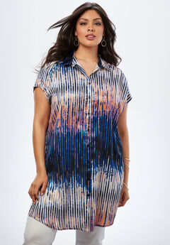 Button-Front Super Tunic, BLUE ABSTRACT STRIPE, hi-res