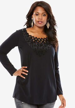 Sequin Yoke Tunic by Denim 24/7,