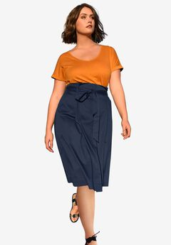 56b663bcaa A-Line Belted Skirt by Castaluna