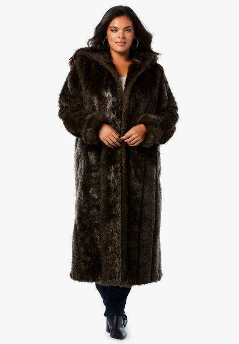 3156d53448b Full Length Faux-Fur Coat with Hood
