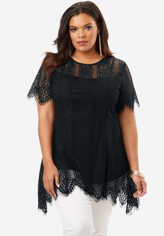 Lace Flutter Tunic with Handkerchief Hem, BLACK, hi-res