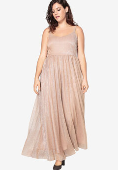 Flared Shimmer Gown With Skater Skirt by Castaluna,