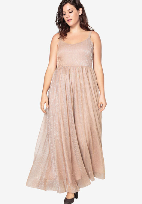 706ec85526f7 Flared Shimmer Gown With Skater Skirt by Castaluna| Plus Size Maxi ...