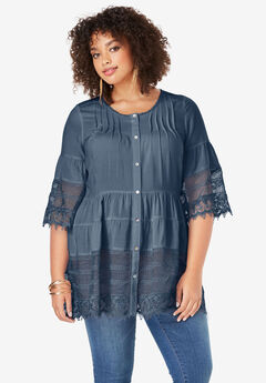 Illusion Lace Tunic, NAVY