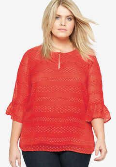 Ruffle Sleeve Top by Castaluna, RED, hi-res