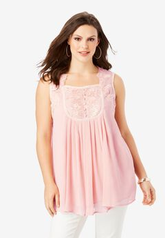 Sleeveless Chiffon Top, SOFT BLUSH