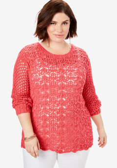 Mixed-Stitch Crochet Sweater,