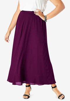 Georgette Maxi Skirt, DARK BERRY
