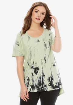 Textured Slub Tunic, ICE JADE PRINT, hi-res