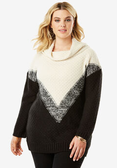 Ombre Marl Pattern Sweater , IVORY COMBO, hi-res