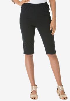 Pull-On Stretch Bermuda Jean Short, BLACK DENIM