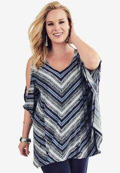Travel Collection V-Neck Tunic, TRIBAL PRINT, hi-res
