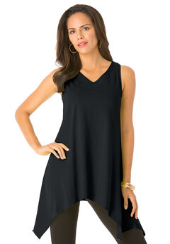 Handkerchief Hem Tunic Tank, BLACK, hi-res
