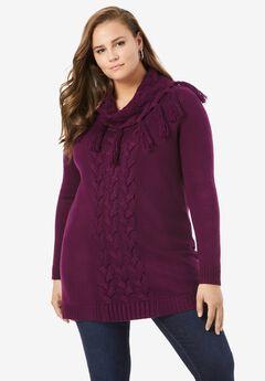 Fringed Cowl-Neck Sweater,