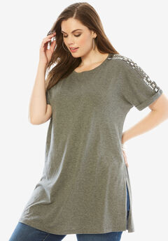 Beaded Tunic, MEDIUM HEATHER GREY, hi-res