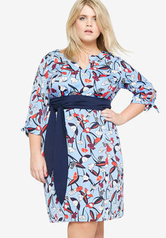 Printed Sash Belt Dress by Castaluna,