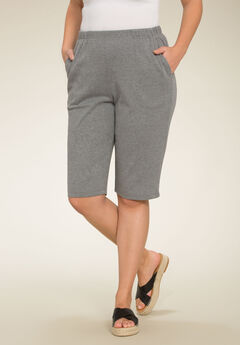 Soft Knit Bermuda Shorts, MEDIUM HEATHER GREY