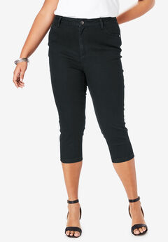 Denim Capri with Invisible Stretch® by Denim 24/7®, BLACK DENIM