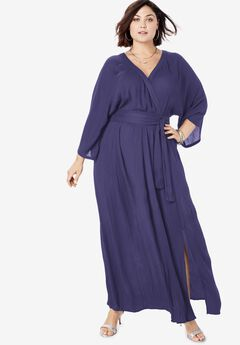 Crinkle Belted Maxi Dress,