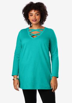 Crisscross Maxi Tunic Sweatshirt, LIGHT JADE
