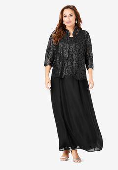 Lace & Chiffon Jacket Dress Set, BLACK