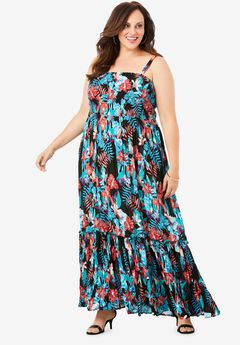 Two-In-One Maxi Dress in Crinkle,