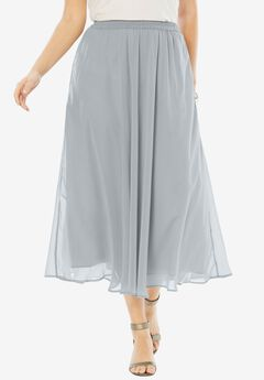 Long Georgette Skirt, SILVER SHIMMER, hi-res
