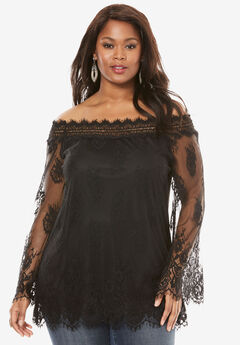 Off-The-Shoulder Lace Top, BLACK, hi-res