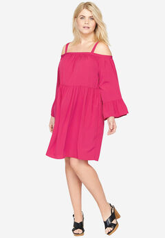 Tiered Sleeve Dress, FUCHSIA, hi-res