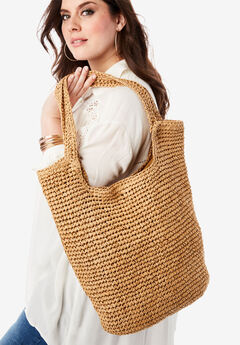 Summer Straw Tote Bag,