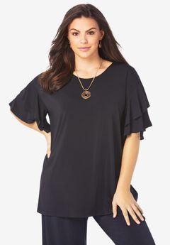 Ultrasmooth® Fabric Ruffle-Sleeve Top,
