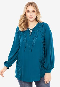 Embroidered Lace-Up Tunic,