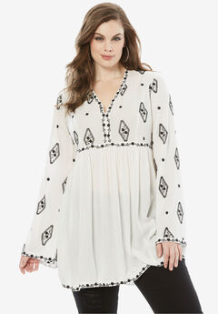 Embroidered Crinkle Tunic, WHITE BLACK COMBO