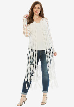 Long Crochet Cardigan with Fringe, WHITE, hi-res