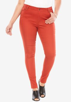 Skinny Jeans with Invisible Stretch® Waistband by Denim 24/7®, RED OCHRE, hi-res