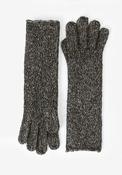 Long Glittery Knit Gloves,