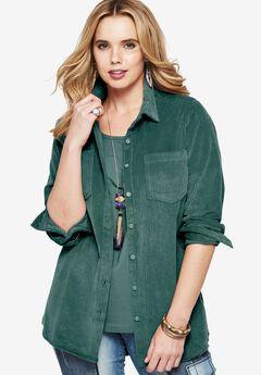 Soft Corduroy Shirt, ANTIQUE TEAL, hi-res