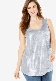 Scoopneck Metallic Tank Top, SILVER SHIMMER METALLIC