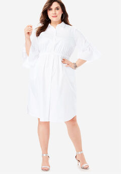 Bell-Sleeve Shirtdress with Button Front, WHITE