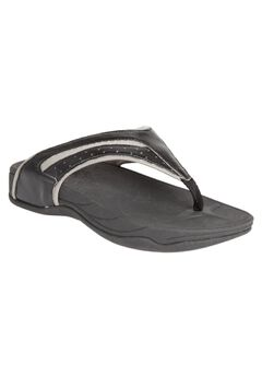 Sporty Thong Sandal by Comfortview®, BLACK, hi-res