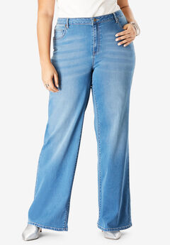 Wide-Leg Jean with Invisible Stretch® by Denim 24/7®, MEDIUM WASH