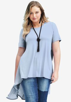 Sheer-Back Tunic, BLUEBERRY CREAM, hi-res