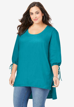 Tie-Sleeve Ultimate Tunic with High-Low Hem,