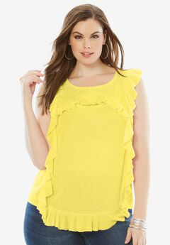 Linen Blend Ruffle Top, LEMON CREAM, hi-res