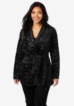 Belted Velvet Blazer with Burnout Pattern,