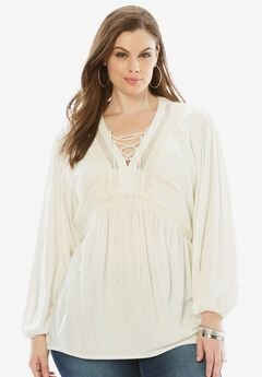Lace Peasant Top with Crochet Detail,
