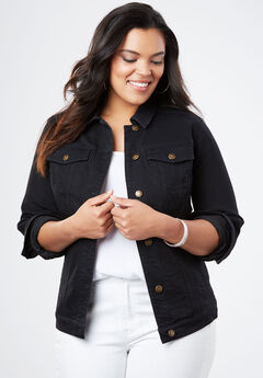 Essential Denim Jacket, BLACK